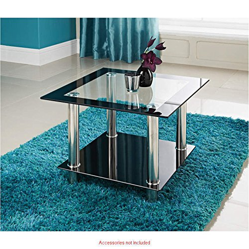Phoenix square clear black glass side lamp table amazon phoenix square clear black glass side lamp table amazon kitchen home aloadofball