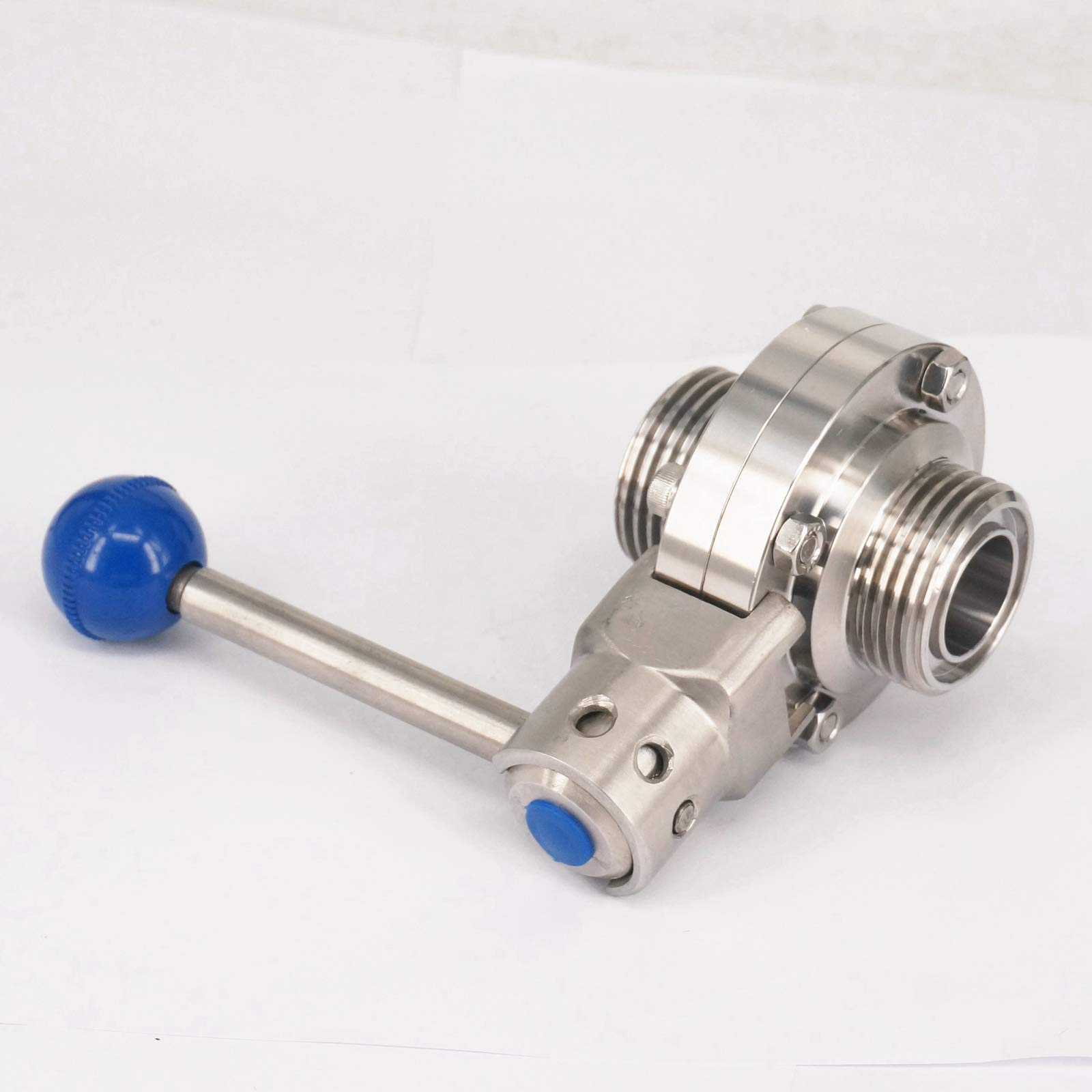 Sorekarain 1'' 25mm 304 Stainless Sanitary T-Type Thread Union Connection Butterfly Valve Brew Beer Dairy Product