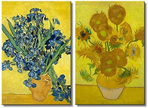 The Sunflowers Irises by Vincent Van Gogh Oil Painting Reproduction in Set of Panels
