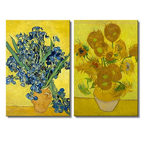 The Sunflowers Irises by Vincent Van Gogh Oil Painting Reproduction in Set of 2 x 2 Panels