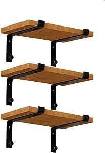LuckIn Sturdy Shelf Bracket, Fit 12 Inch Standard Board Sold by Homedepot,Unique Bracket for DIY Rustic Floating Shelf(6 Pack, Black)
