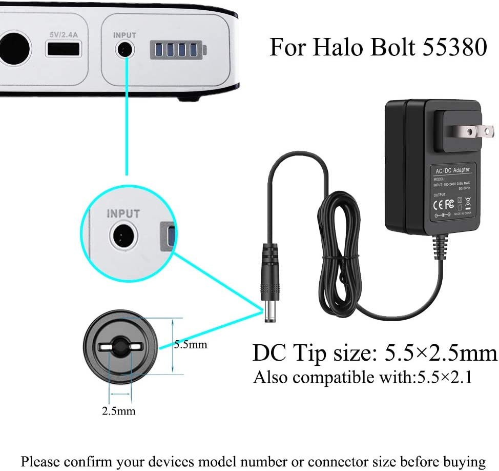 13.5V AC Adapter For Halo Bolt 57720 Portable Charger /& Car Jump Starter Battery