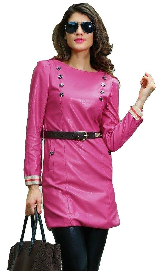 New da donna, colore: Rosa a maniche lunghe in similpelle con cintura mini vestito abito invernale c...