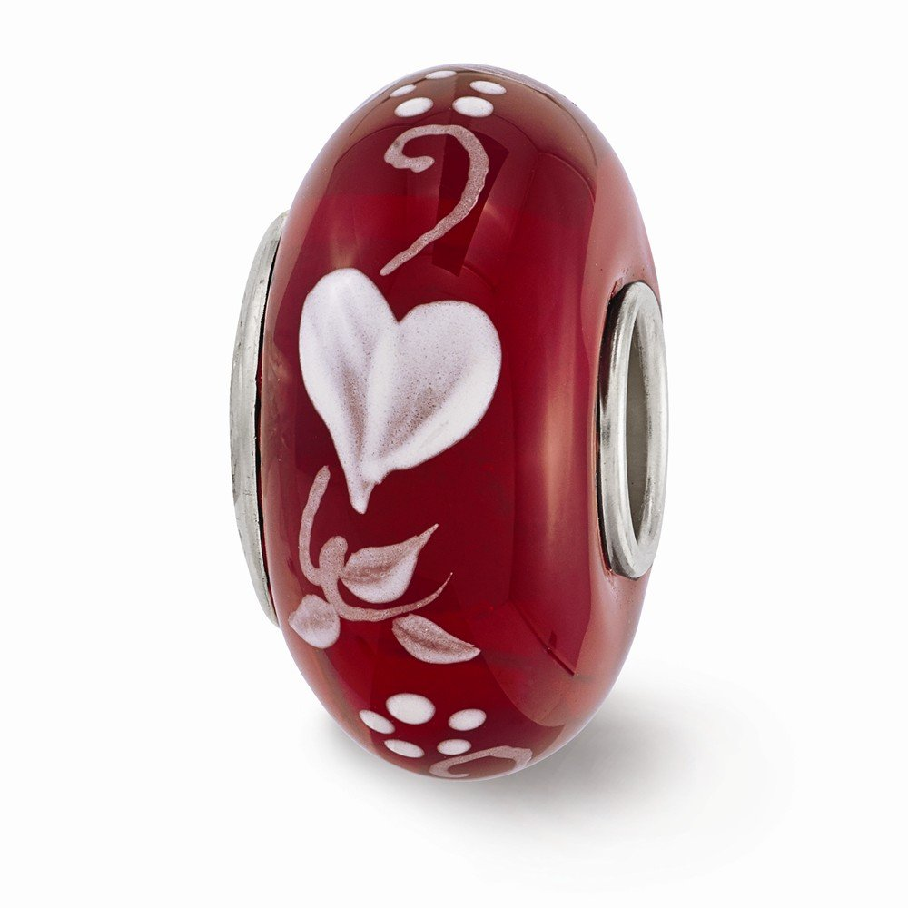 Jewelry Best Seller Ster.Silver Reflections Red Hand Painted Hearts Desire Fenton Glass Bead