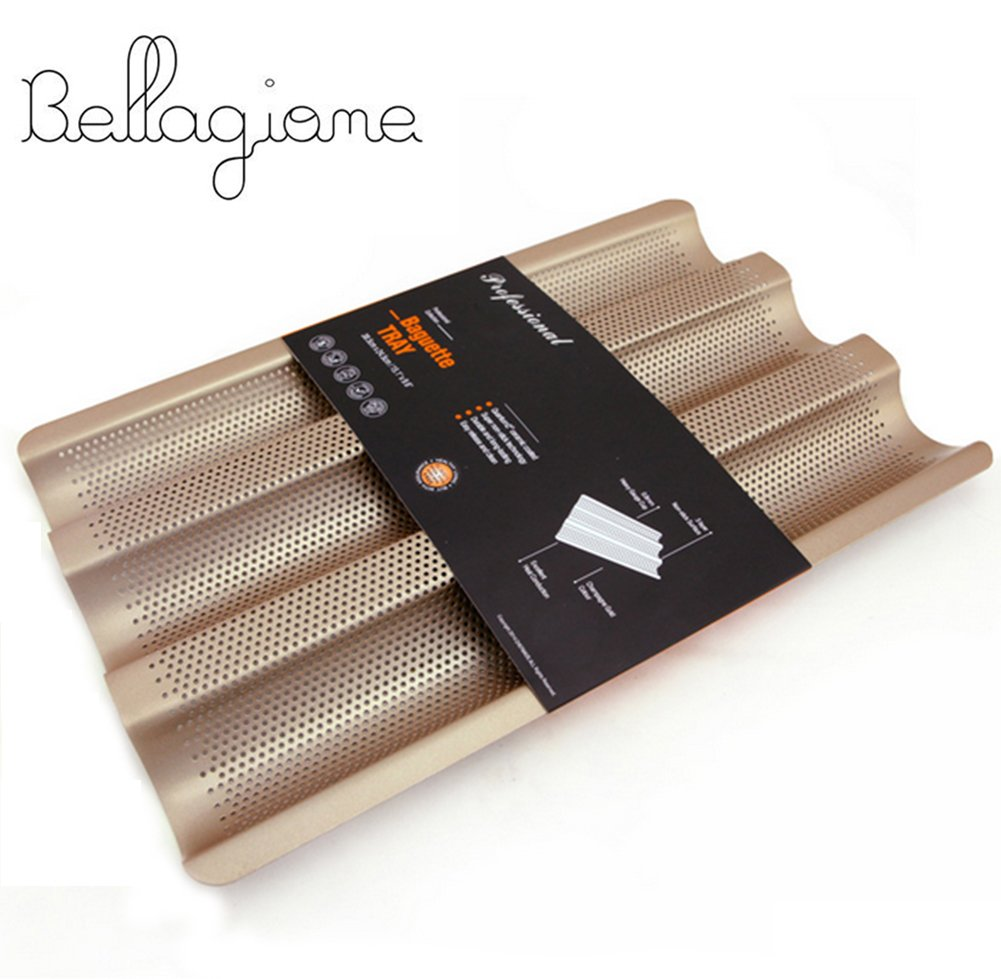 Perforated Baguette Pan No-stick French Bread Pan 3-slot Bake Loaf Mould 15inch Carbon Steel Bread Baking Pans by Bellagione