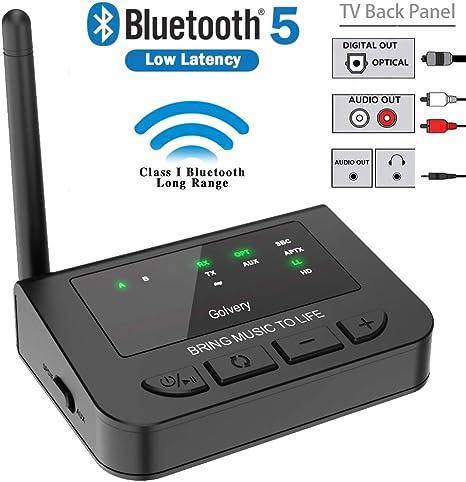 Golvery Receptor transmisor Bluetooth 5.0 de Largo Alcance, Adaptador de música aptX HD y LL para Audio de TV,estéreo doméstico,Plug&Play, Bypass inalámbrico y por Cable,AUX RCA óptico de 3,5 mm: Amazon.es: Electrónica