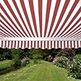 ALEKO AWM16X10REDWHSTR05 Retractable Motorized Patio Awning 16 x 10 Feet Red and White Striped