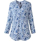 vanberfia Women's Casual Buttoned V Neck 3/4 Sleeve Print Blouses Tops