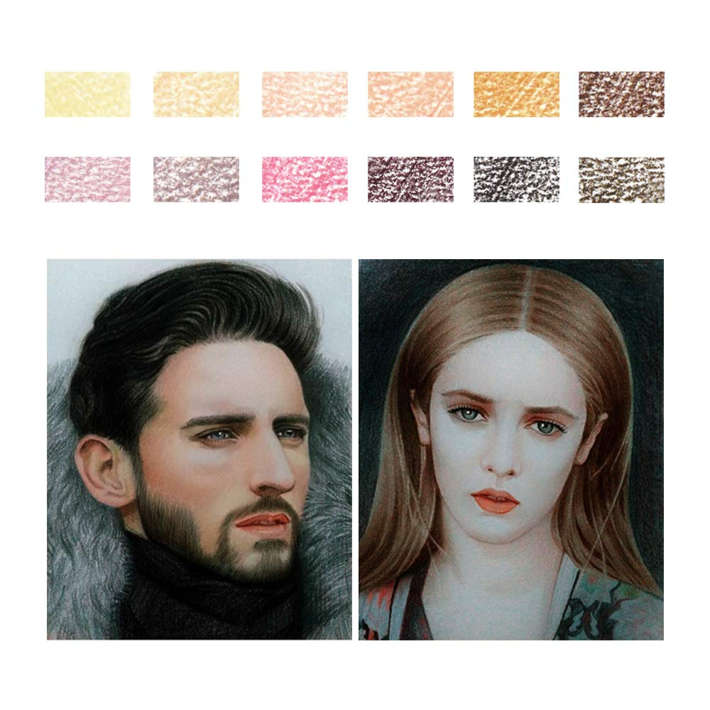 12 Skin Tones Colored Pencils Oil Based Pre-sharpened Drawing ...