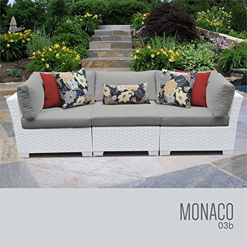 TKC Monaco 3 Piece Patio Wicker Sofa in Gray