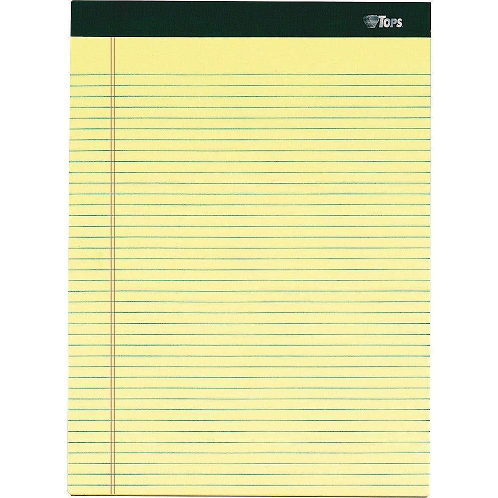 TOPS Docket Gold Writing Pads, 8-1/2'' x 11-3/4'', Perforated, Canary Paper, Narrow Rule, 2X The Sheets of Standard Pads, 100 Sheets, 6 Pack (63376) by TOPS