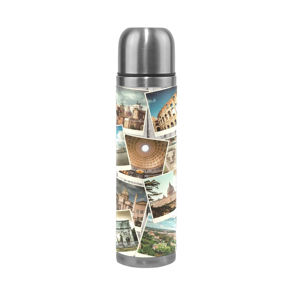 YZGO Vacuum Water Bottle European Rome Italy Photo Wooden Wall Insulated Stainless Steel Coffee Thermal Mug Cup Travel Unique Custom Birthday Gift