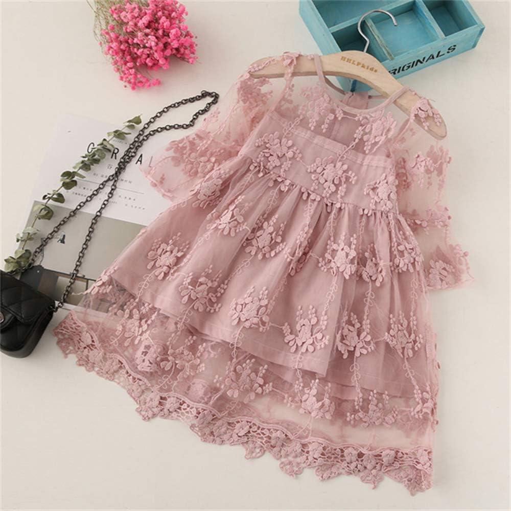NNJXD Flower Girls Wedding Dress Lace Sleeveless Tulle Summer Vintage Dresses
