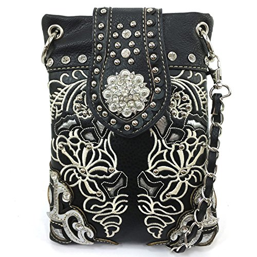 Justin West Floral Embroidery Paisley Silver Croc Rhinestone Studded Concho Buckle CrossBody Mini Handbag Phone Messenger Purse (Black Buckle Purse)