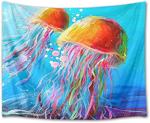 HVEST Jellyfish Tapestry Watercolor Marine Life in Blue Deep Sea Wall Hanging Animal Tapestries for Bedroom,Living Room,Dorm Decor,92.5Wx70.9H inches