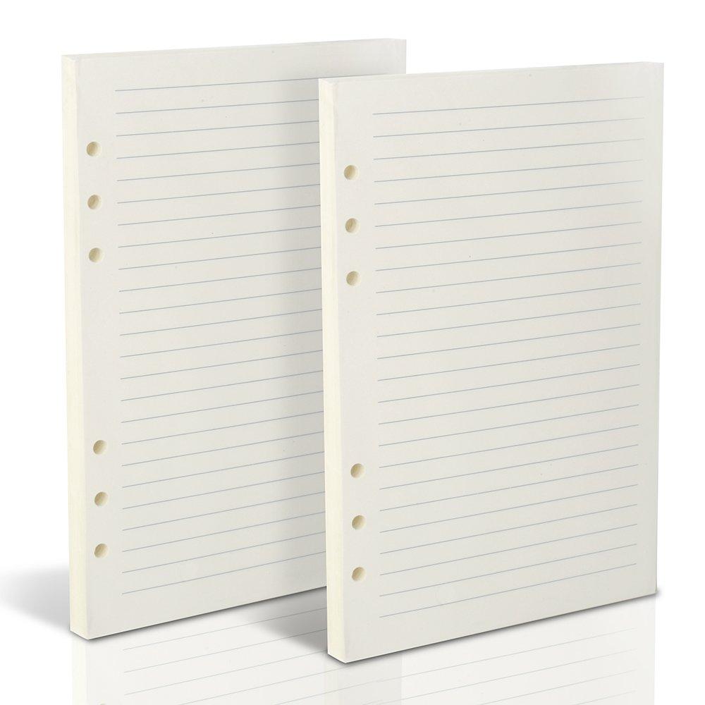Teenitor 160fogli di carta a righe, A5(21x 14cm) copertina in pelle, foderato, 6-holes, 320pagine per viaggio ricaricabili filler Paper quaderni diari planner settimanale, fogli a righe