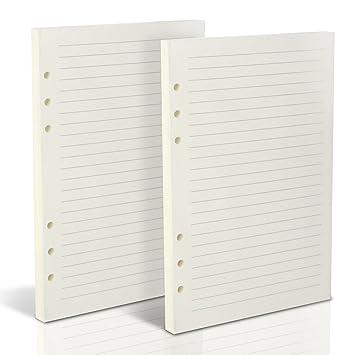 Teenitor - 160 hojas de recambio de papel forrado, A5(21 x ...