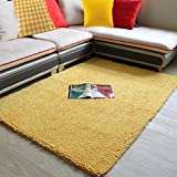 Cheap Wolala Home trade;Chenille Solid Color Absorbent Bathroom Rug Super Soft Shaggy Area Rugs Thickened Non-slip Door Mats Rectangle Livingroom Floor Carpet (4'0x6'6, yellow)