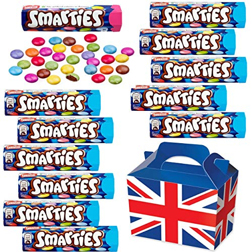 British Chocolate Candy Smarties Box – Smarties Hexatube 36g x12 FULL SIZE Smarties Chocolate Candy in a unique Gift Box…