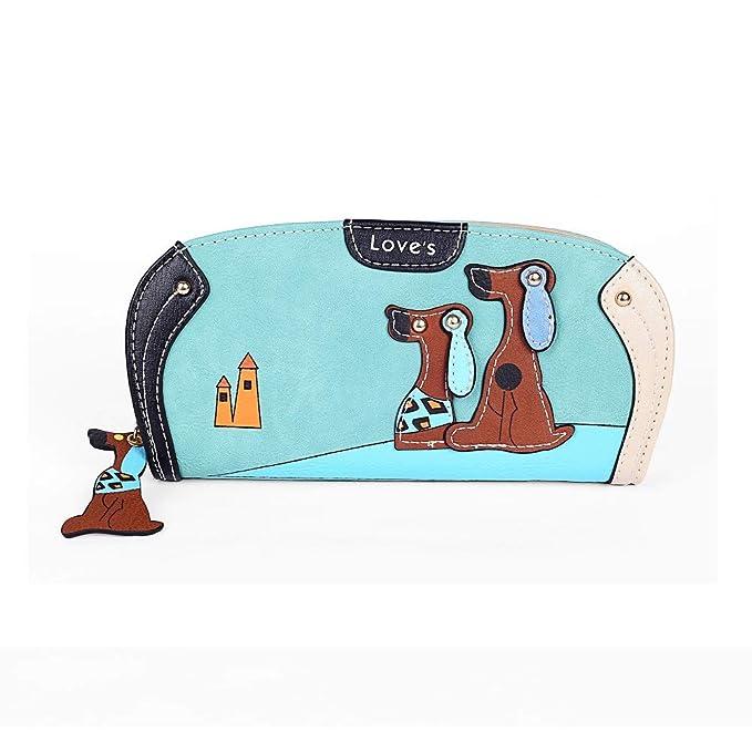 Dreambox mujeres 3d cachorro cartera embrague bolsa bolso de mano de cremallera de Round - Azul -: Amazon.es: Ropa y accesorios