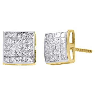 cd707a9213 Image Unavailable. Image not available for. Color: 14K Yellow Gold  Invisible Set Princess Cut Diamond Square Screw Back Stud Earrings ...