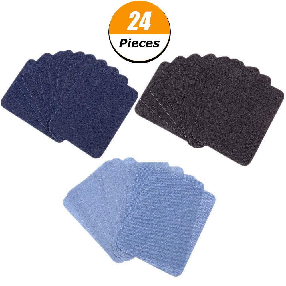 Feihoudei Iron on Denim Patches for Clothing Jeans 24 PCS, 3 Colors (4.9 X 3.8)