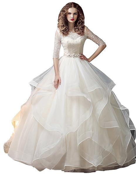 Beauty-Emily La princesa del cordón del Rhinestone maxi plisado con gradas sin respaldo O