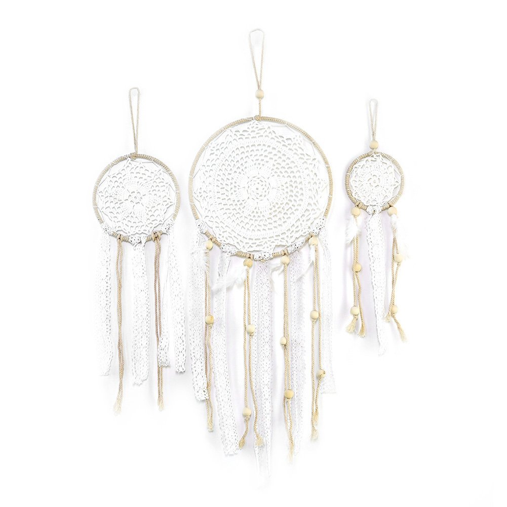 Dream Catchers,SHZONS 3 PCS Boho Wedding Party Favor,Fall Decor New Year Gift Baby Shower,Birthday Gift,Bedroom Wall Ornaments,Car Hanging Decoration,White Feather