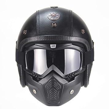 SX Moto Cascos Retro Hechos A Mano Personalidad Retro Harley Casco Moto Coche 3/4