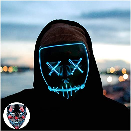 Halloween Maschere Mask Paura LED Music Mask Rave Light Up Mask Sound attivato Flashing Luminoso Cool Party Mask for Dancing Riding Natale Halloween Qualsiasi festival Sensibilit/à del suono regolabi