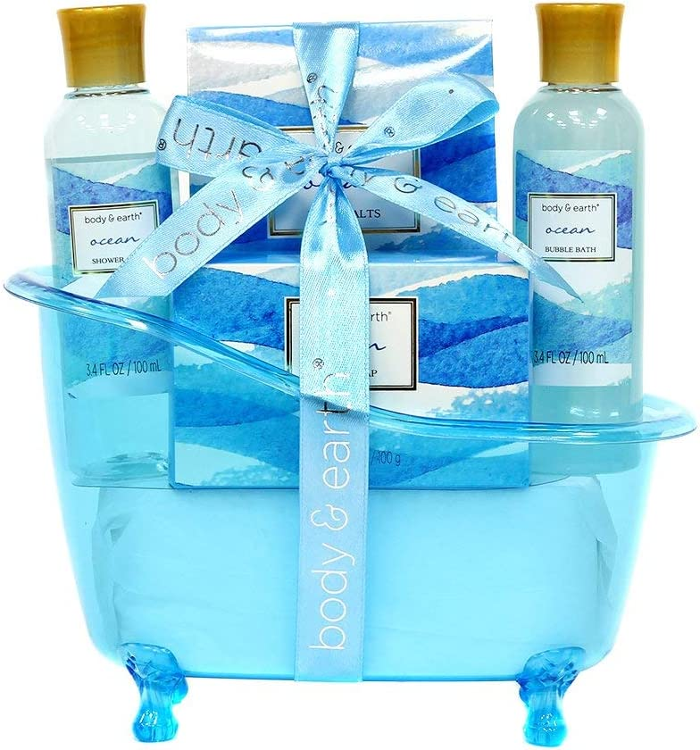 Cestas de regalo de spa para mujeres, Body&Earth cuerpo y tierra, set de regalo de baño de 5 piezas con aroma al océano , la mejor idea de regalo para las mujeres