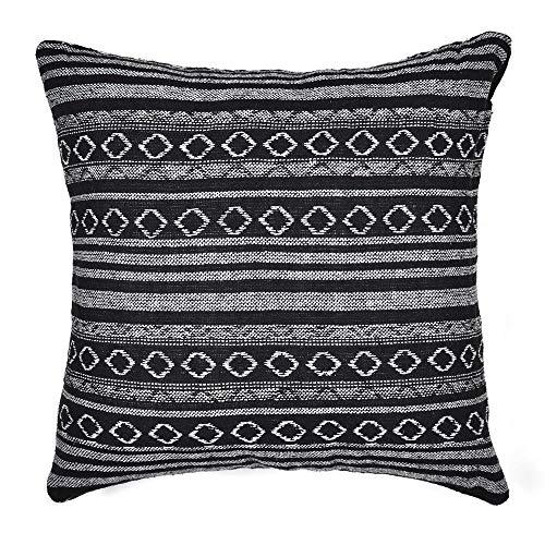Xiaowli Tribal Throw Pillow Cushion Cover Retro Stripe Cotton Blend Linen Pillow Case Bohemian Decorative Pillowcase for Sofa Couch 18 x 18 Inch (Only Pillow Cover)