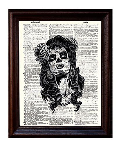 Dictionary Art Print - Day of the Dead Sugar Skull Girl Small- Printed on Recycled Vintage Dictionary Paper - 8