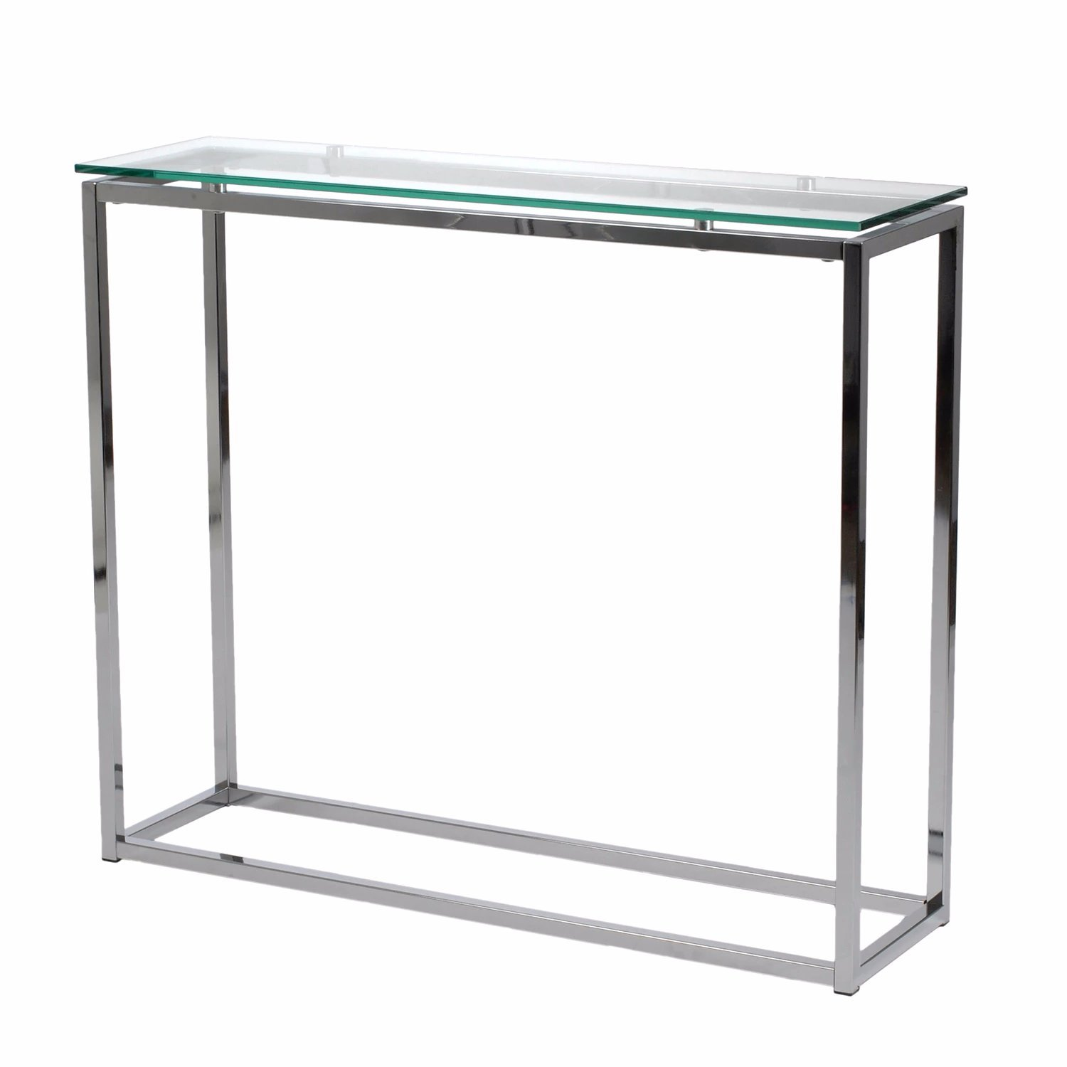 Amazon.com: Clear Metal Console Table With Tempered Glass And Chrome Finish  Includes Custom Mouse Pad: Kitchen U0026 Dining