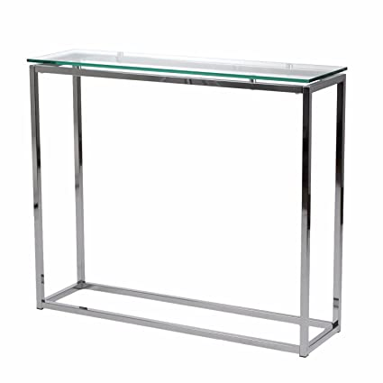Amazoncom Clear Metal Console Table With Tempered Glass And Chrome
