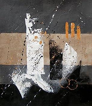 Bild Abstrakt Grau Schwarz Und Beige 60/90 Cm. Abstrakte Malerei Auf  Leinwand Vertikale