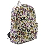 Big Handbag Shop Designer Inspired Fabric Backpack Ruksack Bag (Cycle)