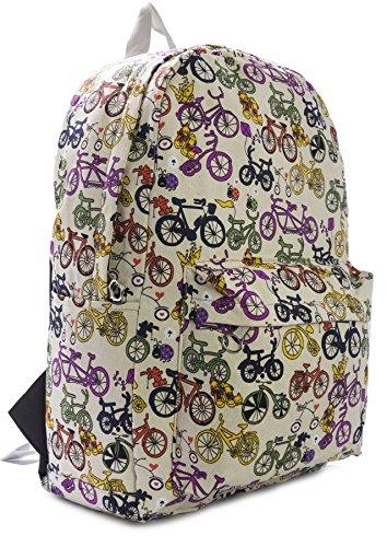 BHBS Bolso tipo Mochila en Tela con Originales Diseños 31x45 cm (LxA) Bicicletas