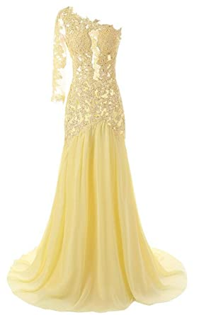 Queenworld Womens One Shoulder Sexy Mermaid Evening Prom Dresses US-8 Yellow