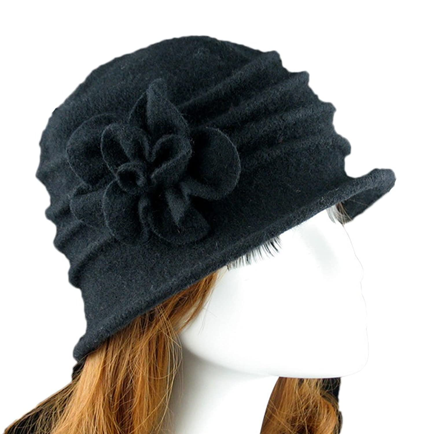 be90271025193 Ealafee Women 100% Wool Solid Color Round Top Cloche Beret Butterfly Fedora  Hats