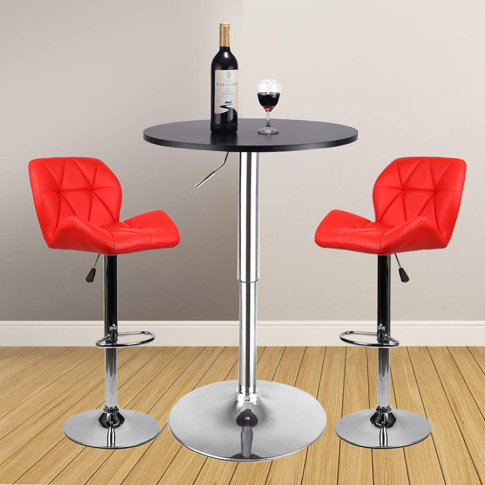 3 Pieces Bar Table Set 24 inch Round Height Adjustable Steel Dining Bistro Kitchen Table with 2 Velvet Bar Stools (PU Leather Red Barstool + Black Pub Table)