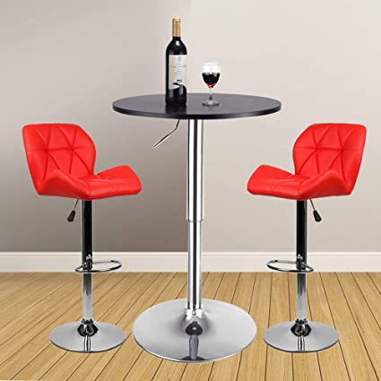 3 Pieces Bar Table Set 24 inch Round Height Adjustable Steel Dining Bistro  Kitchen Table with 2 Velvet Bar Stools (PU Leather Red Barstool + Black Pub  ...