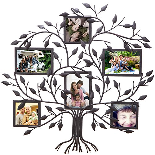 Asense Black Metal Family Tree Wall hanging Decorative Collage Picture Photo Poster Frame, 6 Openings, 4x6 4x4 (Wall Tree Photo Frame)