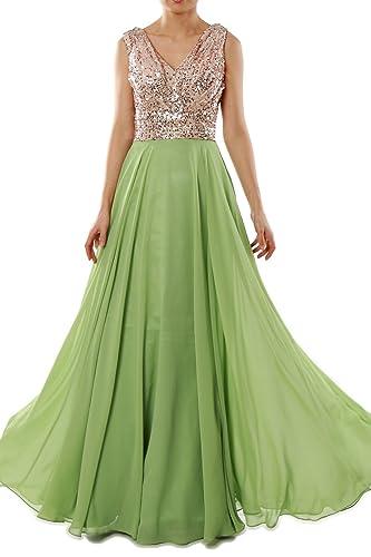 MACloth Women V Neck Sequin Chiffon Long Bridesmaid Dress Formal Evening Gown