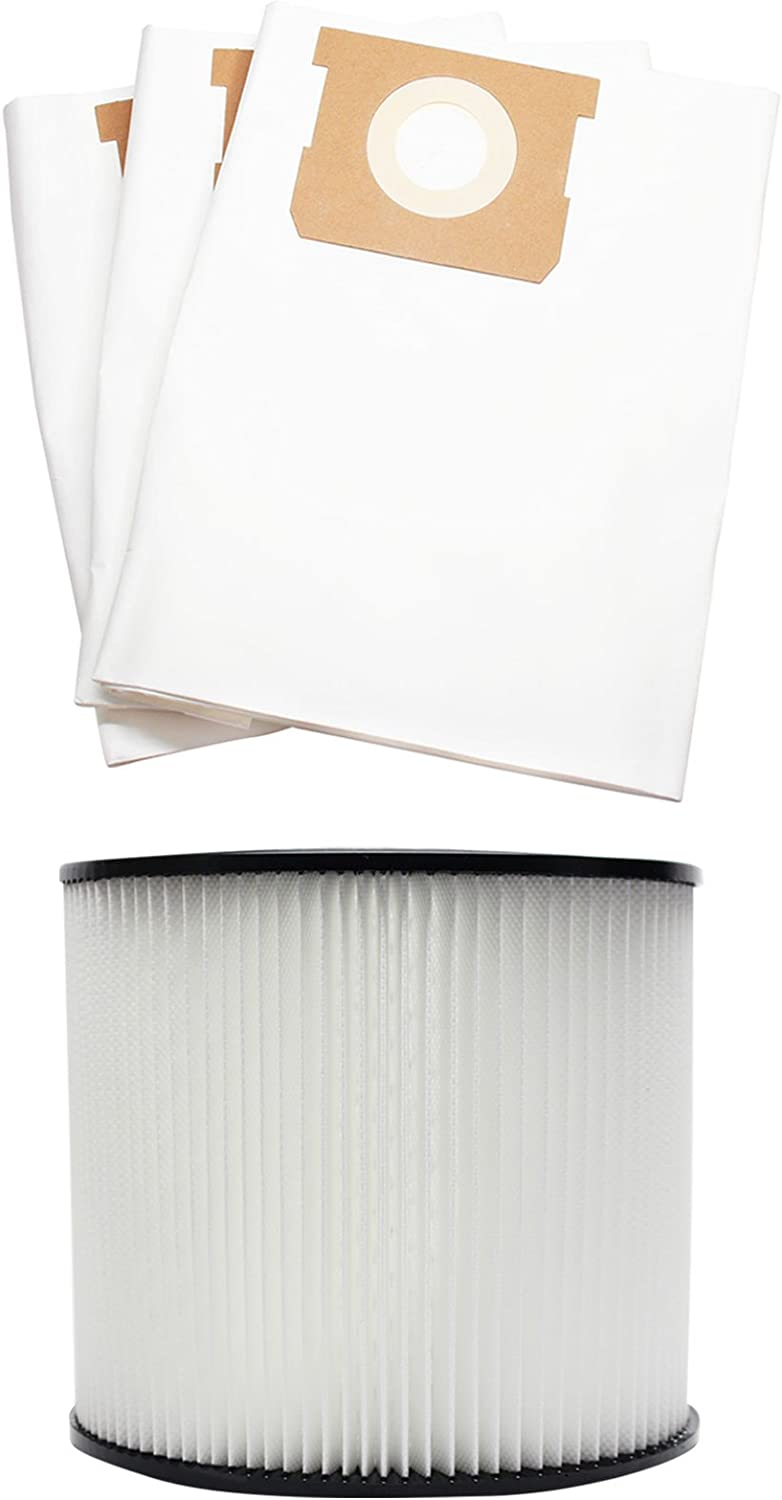 3 Replacement 90661 Vacuum Bags & 90304 Filter for Shop-Vac - Compatible with Shop-Vac CH87-650C, Shop-Vac 587-34-00, Shop-Vac 596-07-00, Shop-Vac Heavy Duty Portable CH87-650C, Shop-Vac Heavy Duty Portable 587-34-00, Shop-Vac 86EM350, Shop-Vac 586-73-00, Shop-Vac 12B300A, Shop-Vac 12B225A