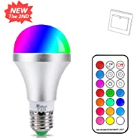 E27 Colour Changing Light Bulb 10W Dimmable RGBW LED Light Bulbs Mood Lighting with 21key Remote Control,Dual Memory Function,12 Color Choices for Home, Party, Bar, Disco KTV, Stage Effect Lights