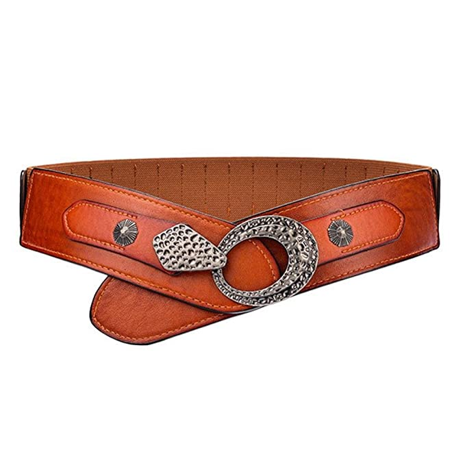 3905645b29778 Retro Western Wide Belt for Women Metal Buckle Elastic Waist Belt Cinch at Amazon  Women's Clothing store: