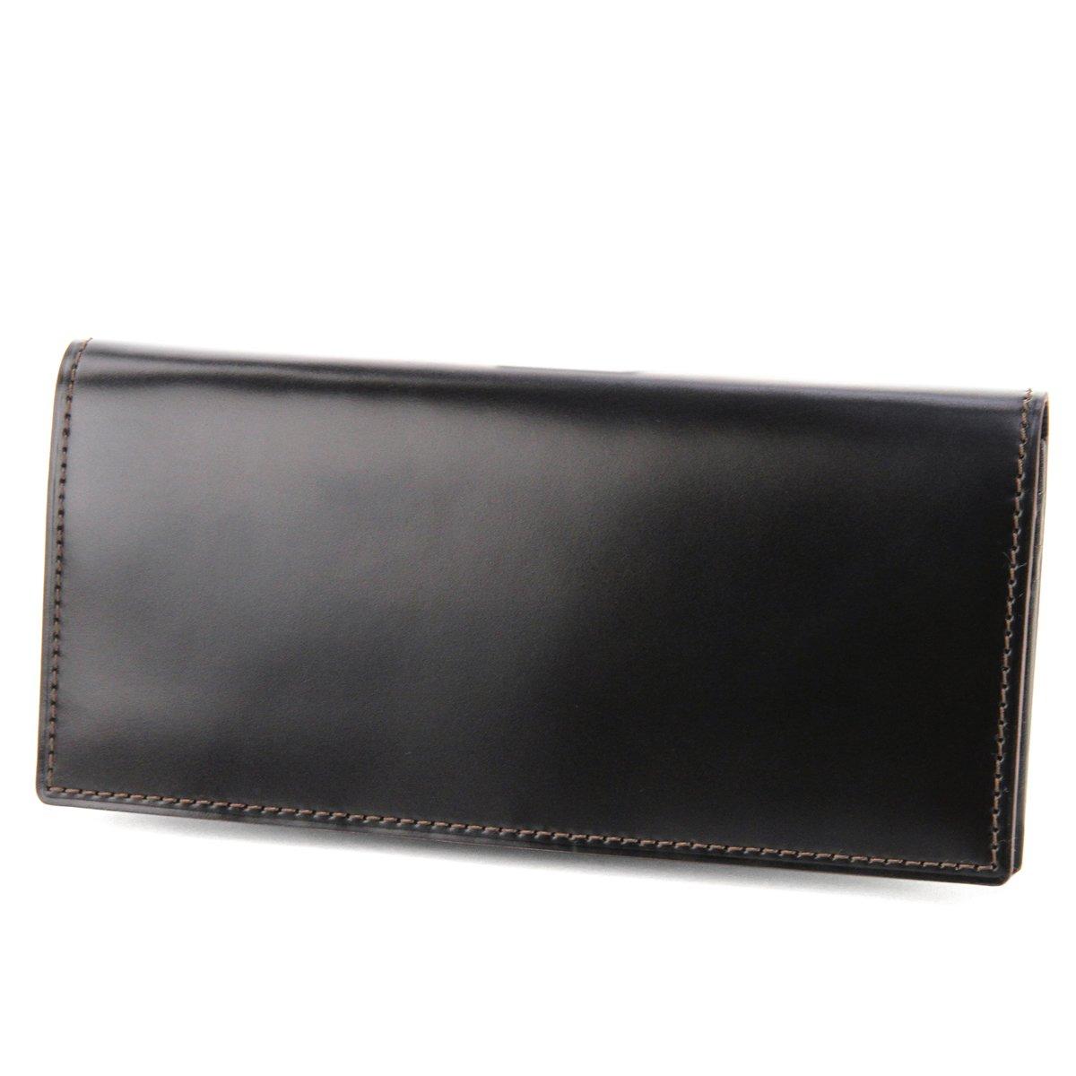 [エルゴポック] 二つ折り長財布 コードバン 本革 CVW-WTL メンズ B07D9FLGV8 ブラック