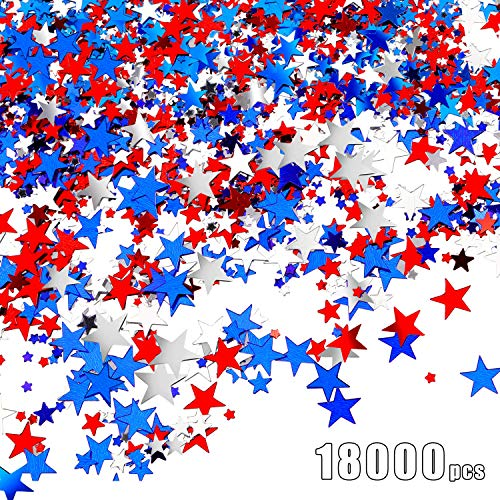 - 150 g Metallic Star Confetti Star Table Confetti Foil Star Patriotic Confetti for 4th of July Independence Day Party Decoration, Red, White and Blue