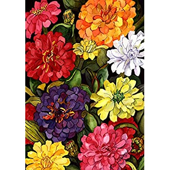 Toland Home Garden Zippy Zinnias 28 x 40 Inch Decorative Colorful Spring Summer Flower Floral House Flag